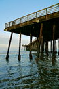 Water under the pier sea lapping against bottom of a taken at pismo beach ca Royalty Free Stock Photos