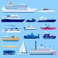 Water vessel transport icons set. Vector flat vehicle illustration. Sail boats, cruise ship, yacht on blue background