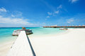 Water villas and jetty Royalty Free Stock Image
