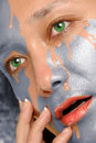 Water washing paint from woman face Royalty Free Stock Photo