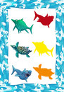 Water / wave frame / matching game with animals / illustration for children