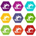 Water wave splash icon set color hexahedron Royalty Free Stock Photo