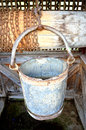 Water well details old type of in the house courtyard the bucket for Royalty Free Stock Photos