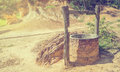 Water well in dry land Royalty Free Stock Photo