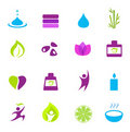 Water, wellness, nature and zen icons - pink Stock Photo