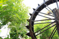 Water wheel built to adorn the garden Royalty Free Stock Photography
