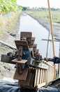 Water wheel for catch fish vintage focus on front Royalty Free Stock Photo