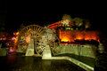 Water wheel landmark of lijiang dayan old town at night entrance to in yunnan province southwestern china historical watermill and Stock Photos