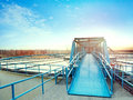 Water work industry site and urban skyline background Royalty Free Stock Photo