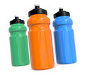 Waterbottles three reusable water bottles on white d render Royalty Free Stock Images