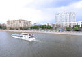 Waterbus sailing along the moscow river touristic moskva past house of russian government Stock Images