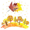 Watercolor Abstract Autumn For...