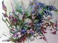 Watercolor abstract background floral pattern wild flowers meadow wet wash blurred decoration hand beautiful wallpape Royalty Free Stock Photo
