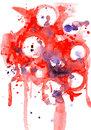 Watercolor abstract circles illustration of red and violet Stock Photography