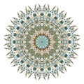 Watercolor abstract mandala with stylized feathers
