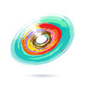 Watercolor abstract object background with colored circles imitating Stock Photography