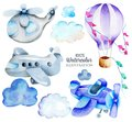 Watercolor air transport elements airplane, helicopter, hot balloon collection, illustration for kids