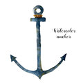 Watercolor anchor with rope. Hand painted nautical illustration isolated on white background. For design, print or Royalty Free Stock Photo