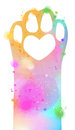 Watercolor animal footprint icon. Digital art painting Royalty Free Stock Photo