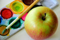 Watercolor an apple and colors ready to paint ready for a colorful Royalty Free Stock Photography