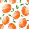 Watercolor apricot seamless pattern.