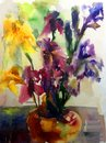 Watercolor art background colorful flower bouquet white Royalty Free Stock Photo