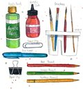 Watercolor art supplies brushes, paper clip, pencils, acrylic ink and paint, brush washer.