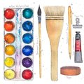 Watercolor art supplies pallet, brushes, tape, paper clip, mechanical pencil, tube.