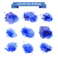 Watercolor artistic abstract paint drops collection isolated on white background. Royalty Free Stock Photo