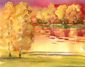Watercolor autumn landscape collection hand painted Royalty Free Stock Photography