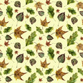 Watercolor autumn leaves seamless pattern. Hand painted oak, maple, aspen fall leaves ornament isolated on yellow Royalty Free Stock Photo