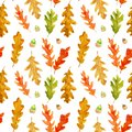 Watercolor autumn oak leaves and acorns seamless pattern