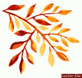 Watercolor autumn twig