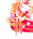 Watercolor background -Flowers- Stock Photo