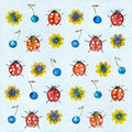 Watercolor background ladybugs. Royalty Free Stock Photo