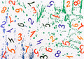 Watercolor background with numbers Stock Image