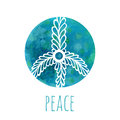 Watercolor background with peace sign. Music and love concept with hand-drawn doodle ornament. Hippie vector