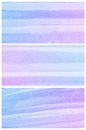 Watercolor background set of colorful blue purple abstract water color art hand paint Stock Image