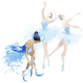 Watercolor ballerinas dancing Royalty Free Stock Photo