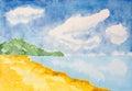 Watercolor beach landscape background