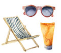 Watercolor beach suntan vacation set. Hand drawn summer objects: sunglasses, beach chair and sunblock or suntan cream. Illustratio