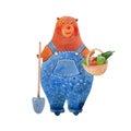 Watercolor bear gardener