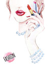 Watercolor beautiful face. woman portrait with lipstick.