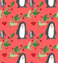 Watercolor beautiful seamless pattern with penguins, hearts, berries and leafs