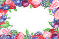 Watercolor berries horizontal frame
