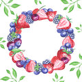 Watercolor berries wreath with leaves backgroud