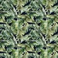 Watercolor big seamless pattern with tropical banana leaves. Hand painted exotic leaves and branches isolated on black