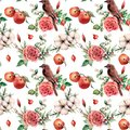 Watercolor big seamless patttern with bird and apple. Hand painted floral illustration with cotton, dogrose, rose