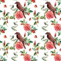 Watercolor big seamless patttern with bird and rose. Hand painted floral illustration with snowberries, dogrose, leaves