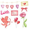Watercolor big set with symbolics of St. Valentine`s Day